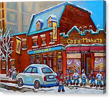 Winter Day On St.laurent Montreal Moishe's Steakhouse And Casa Minhota Hockey Game Canvas Print