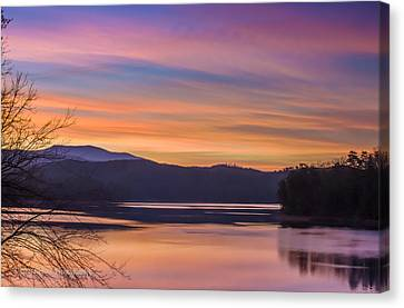 Winter Daybreak At Ocoee Lake Canvas Print by Paul Herrmann
