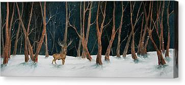 Winter Deer Canvas Print by Rebecca Davis