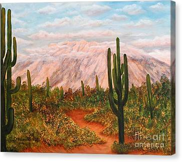 Winter Desert At Sunset Canvas Print by Judy Filarecki