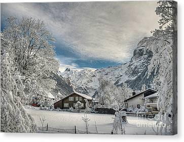 Winter Dream In Engelberg Canvas Print by Caroline Pirskanen
