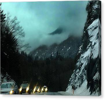 Winter Drive In The Coast Mountains Canvas Print