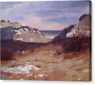 Canvas Print featuring the painting Winter Dunes by Karol Wyckoff