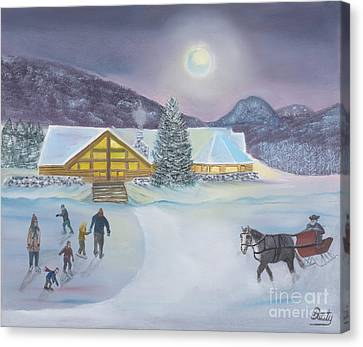 Winter Evening At Evergreen Lakehouse Canvas Print