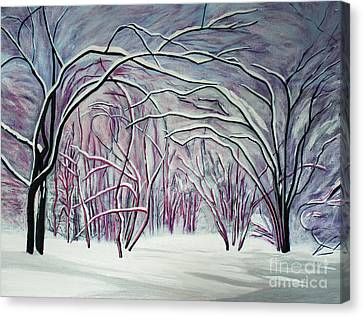Winter Fairies Canvas Print by Barbara McMahon