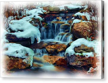 Winter Falls Canvas Print by Dennis Lundell