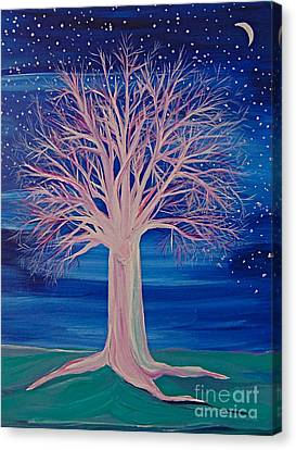 Canvas Print featuring the painting Winter Fantasy Tree by First Star Art