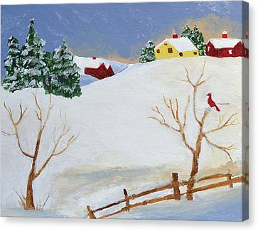 Cardinal Canvas Print - Winter Farm by Bryan Penzer