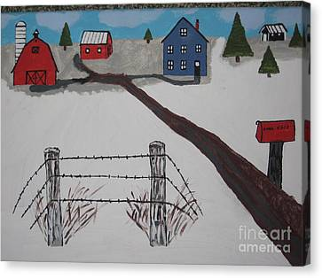 Canvas Print featuring the painting Winter Farm by Jeffrey Koss