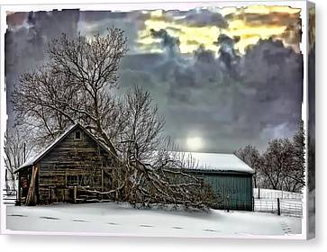Winter Farm Polaroid Transfer  Canvas Print by Steve Harrington