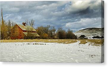 Winter Farm Canvas Print by Steve McKinzie