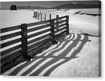 Farming Barns Canvas Print - Winter Fence by Inge Johnsson