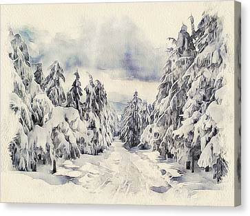 Winter Forest Landscape 14 Canvas Print by Yury Malkov
