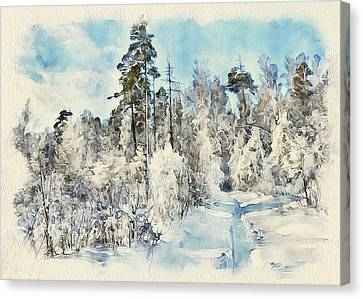 Winter Forest Landscape 28 Canvas Print by Yury Malkov