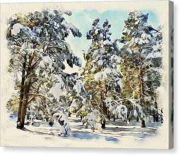 Winter Forest Landscape 32 Canvas Print by Yury Malkov