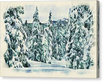Winter Forest Landscape 35 Canvas Print by Yury Malkov