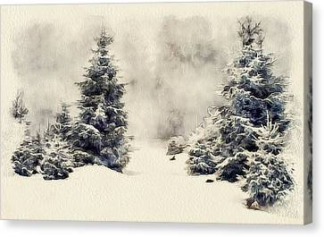 Winter Forest Landscape 4 Canvas Print by Yury Malkov