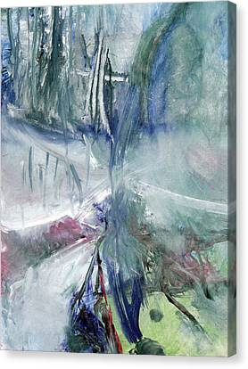 Canvas Print featuring the painting Winter Forest Painting by John Fish
