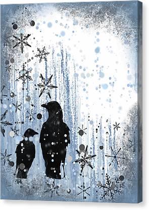 Foggy Day Digital Art Canvas Print - Winter Frolic 2 by Melissa Smith