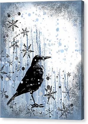 Foggy Day Digital Art Canvas Print - Winter Frolic by Melissa Smith