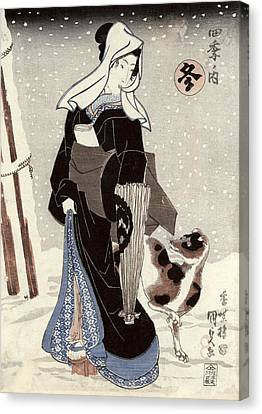 Winter, From The Series Shiki No Uchi The Four Seasons Colour Woodblock Print Canvas Print