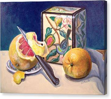 Canvas Print featuring the painting Winter Fruit by Laura Aceto