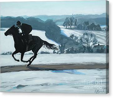 Winter Gallops Canvas Print by Leigh Banks