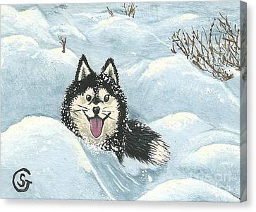 Winter Games -- Husky Style Canvas Print by Sherry Goeben