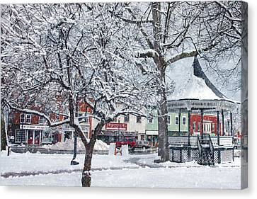 Winter Gazebo Canvas Print by Joann Vitali