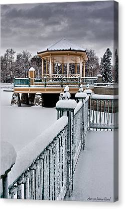 Canvas Print featuring the photograph Winter Gazebo by Steven Reed