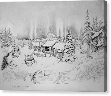 Canvas Print featuring the drawing Winter by Geni Gorani