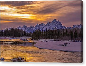 Winter Glow Over The Tetons Canvas Print