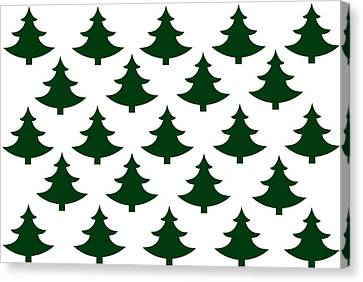 Winter Green Christmas Tree Canvas Print by Chastity Hoff