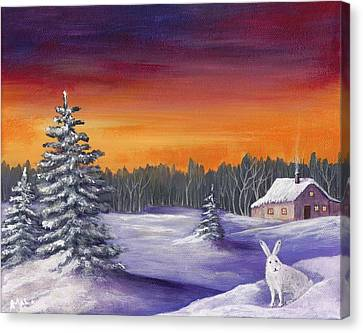 Winter Hare Visit Canvas Print by Anastasiya Malakhova