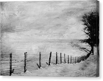 Fence Row Canvas Print - Winter Haze by Kathy Jennings