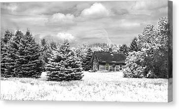 Winter House On The Prairie Canvas Print by John Hix