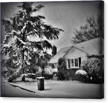 Winter In Black And White Canvas Print by Mikki Cucuzzo