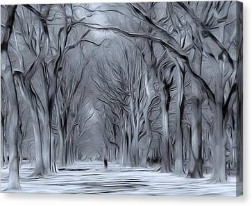 Canvas Print featuring the digital art Winter In Central Park by Nina Bradica