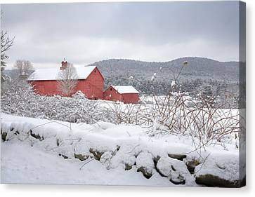 Red Barn In Snow Canvas Print - Winter In Connecticut by Bill Wakeley