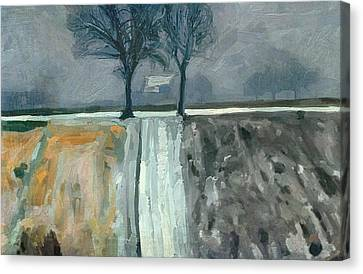 Winter In Elkenrade Canvas Print by Nop Briex