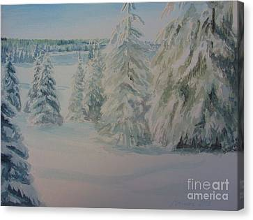 Canvas Print featuring the painting Winter In Gyllbergen by Martin Howard