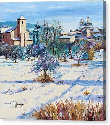 Winter In Lourmarin Canvas Print by Jean-Marc Janiaczyk