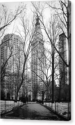 Winter In Madison Square Park - New York City Canvas Print by Erin Cadigan
