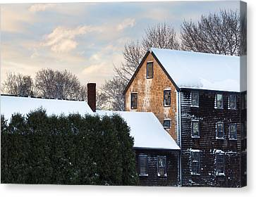 Winter In Prescott Park Canvas Print by Eric Gendron