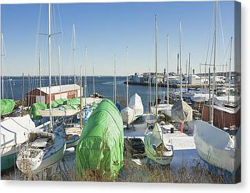 Winter In Rockland Maine Canvas Print by Keith Webber Jr