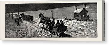 Winter In Russia The Road Across The Ice Between Cronstadt Canvas Print by English School