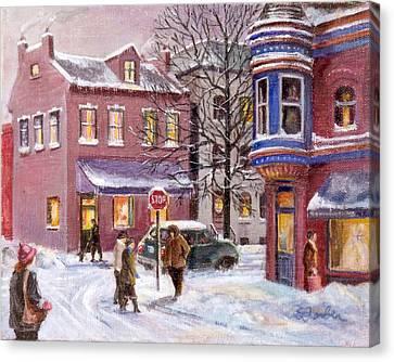 Winter In Soulard Canvas Print by Edward Farber