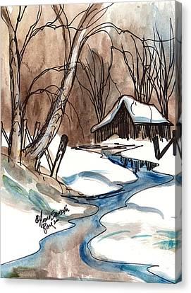 Winter In The Cabin Canvas Print