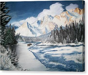 Canvas Print featuring the painting Winter In The Canadian Rockies by Sharon Duguay