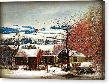 Winter In The Country Folk Art Canvas Print by Lianne Schneider